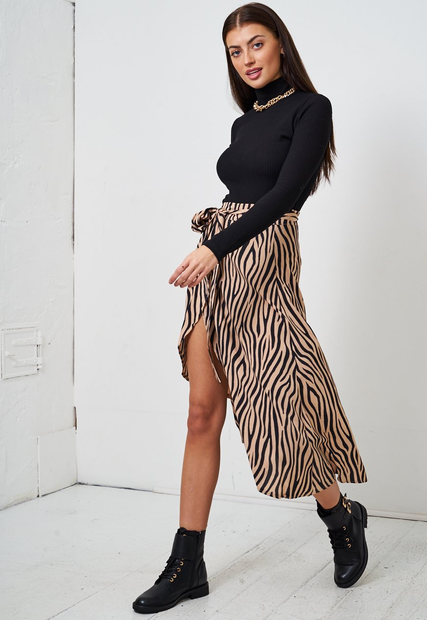 Brown Zebra Wrap Skirt - love frontrow