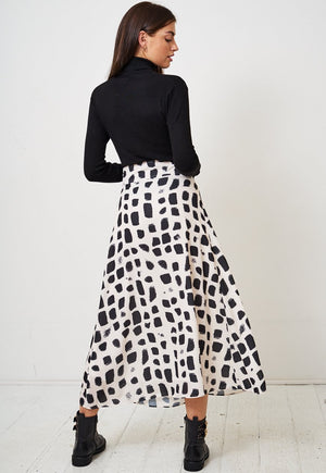 Giraffe Print High Waisted Belted Maxi Skirt - love frontrow