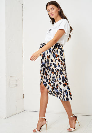 Multicolour Leopard Print Wrap Skirt - love frontrow