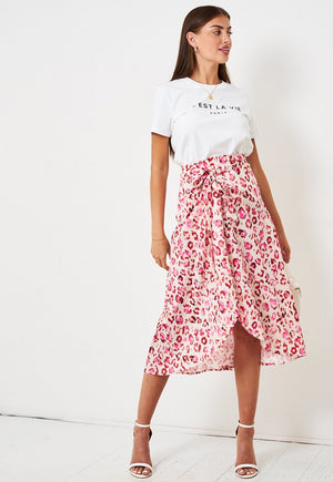 Pink Leopard Print Satin Wrap Skirt - love frontrow