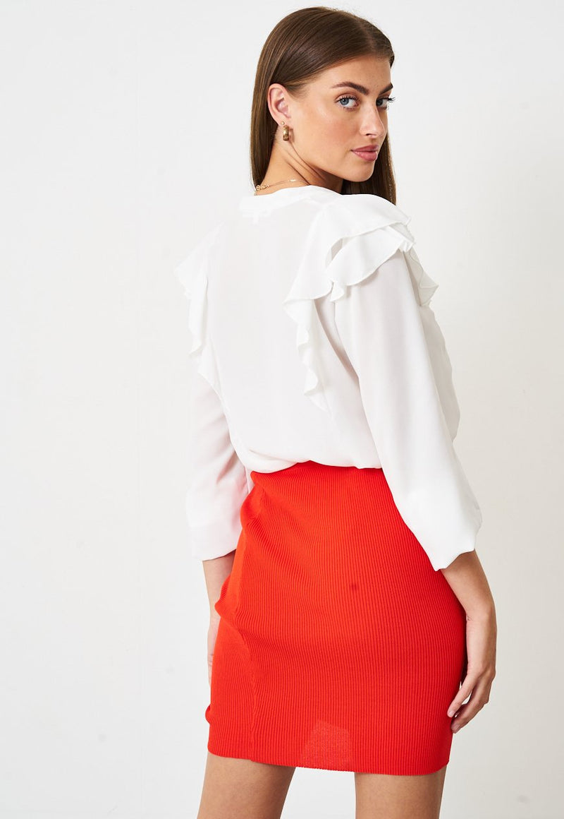 Ruched Front Mini Skirt in Orange - love frontrow