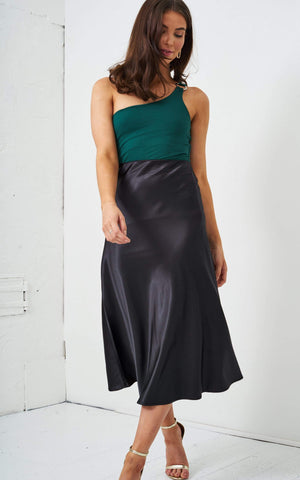 Sabina Black Satin Slip Midi Skirt - love frontrow