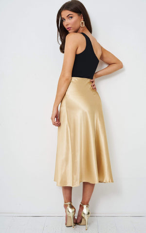 Sabina Gold Satin Slip Midi Skirt - love frontrow