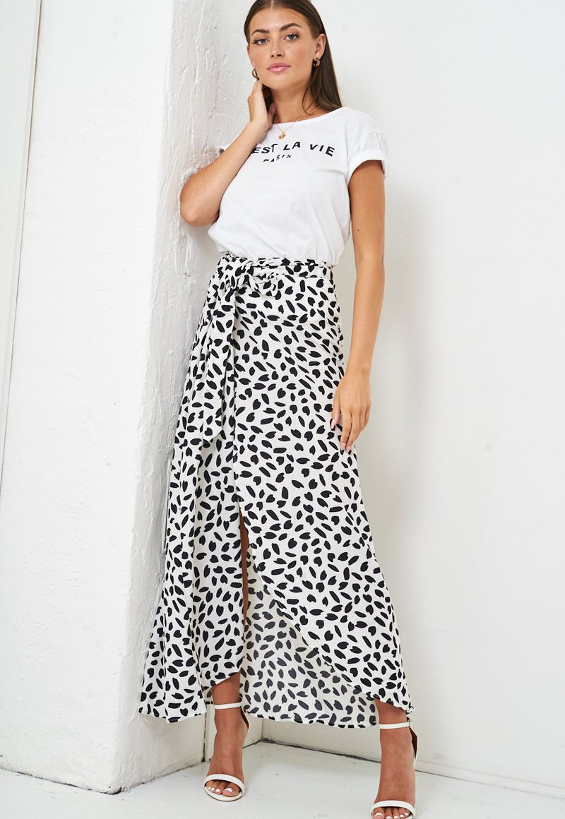 White Leopard Print Wrap Skirt - love frontrow