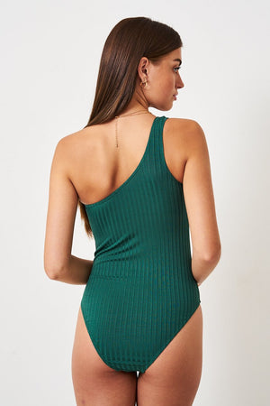 Khaki One Shoulder Ribbed Swimsuit - love frontrow
