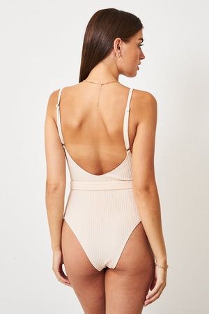 Nude Crinkle Belted One Piece Swimsuit - love frontrow