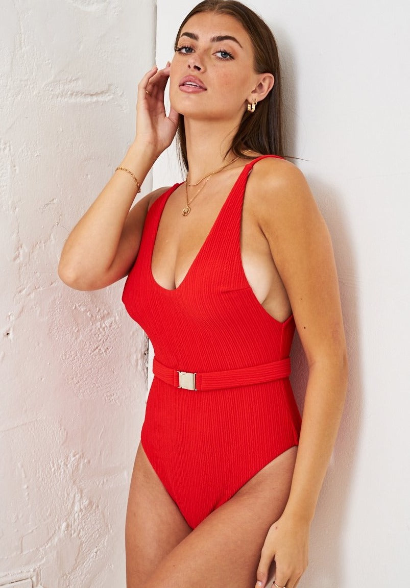 Red Crinkle Belted One Piece Swimsuit - love frontrow