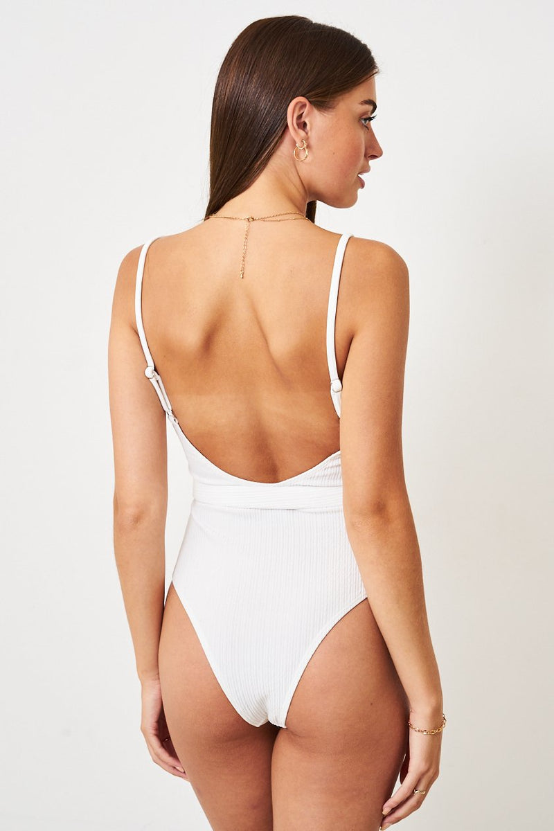White Crinkle Belted One Piece Swimsuit - love frontrow