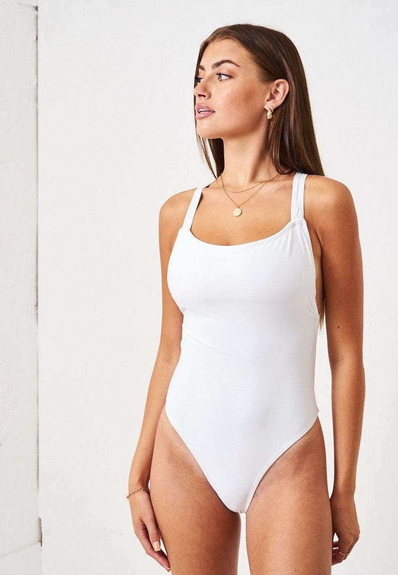 White Cross Back One Piece Swimsuit - love frontrow