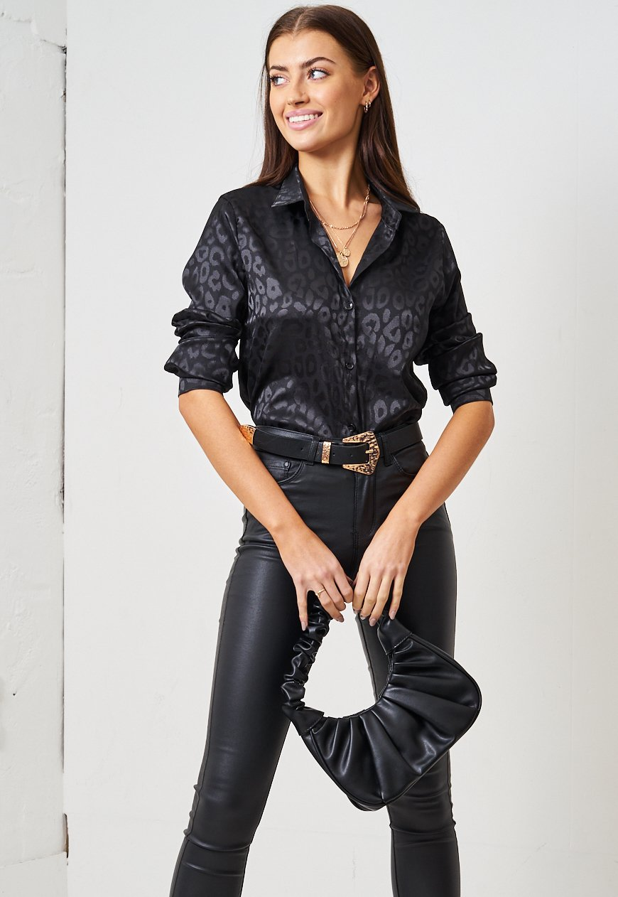 Black Leopard Print Jacquard Satin Shirt - love frontrow