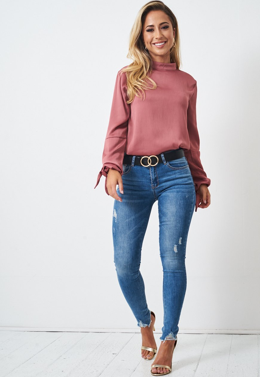 Dusky Rose Pink High Neck Tie Sleeve Blouse - love frontrow
