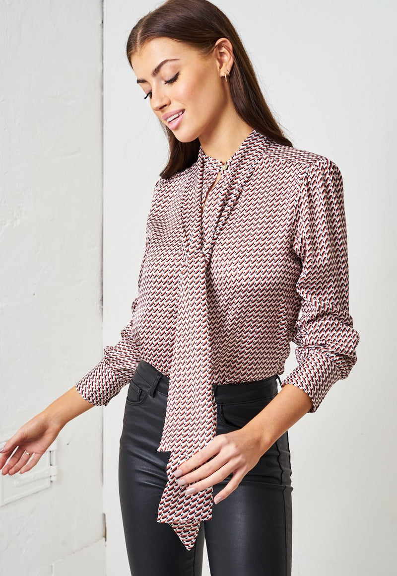 Geometric Print Pussy Bow Blouse - love frontrow