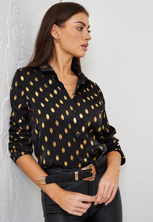 Gold Spot Print Shirt | Black - love frontrow