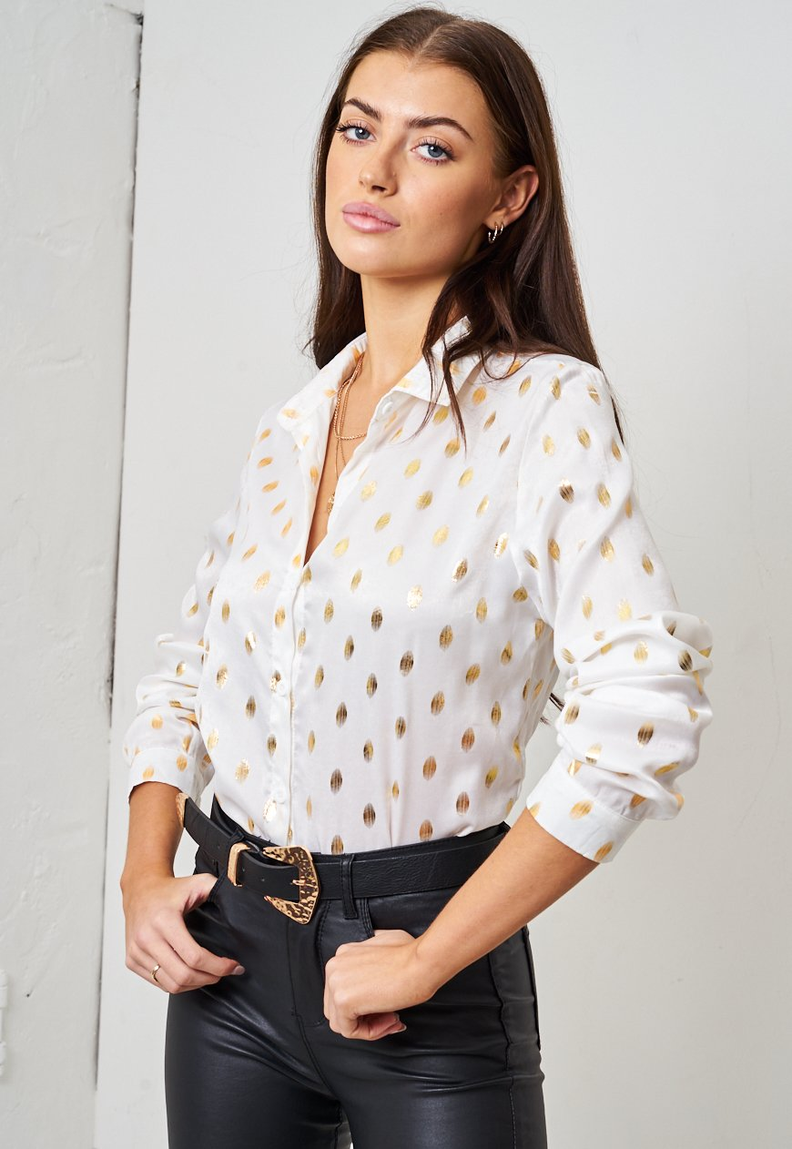 Gold Spot Print Shirt | White - love frontrow