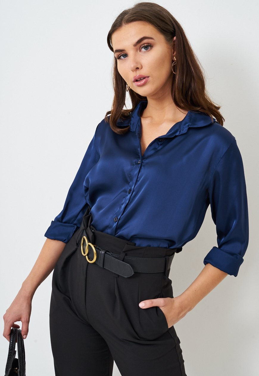Frontrow Top 8 Navy Silk Satin Shirt