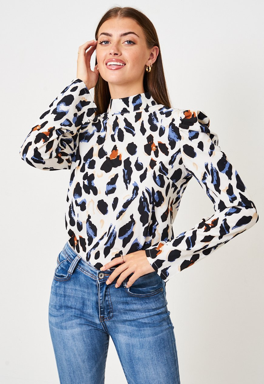 White Leopard Print Puff Sleeve Top - love frontrow