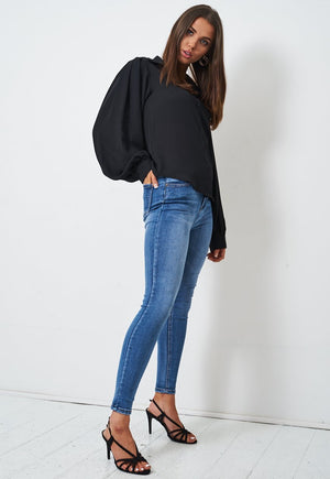 Black Chiffon Blouson Sleeve Shirt - love frontrow