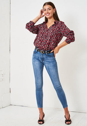 Black Ditsy Floral Chiffon Shirt - love frontrow