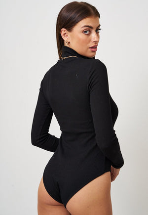 Black High Neck Long Sleeve Bodysuit - love frontrow