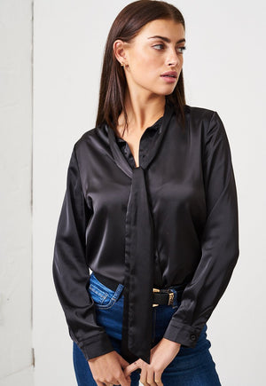 Black Pussy Bow Satin Shirt - love frontrow