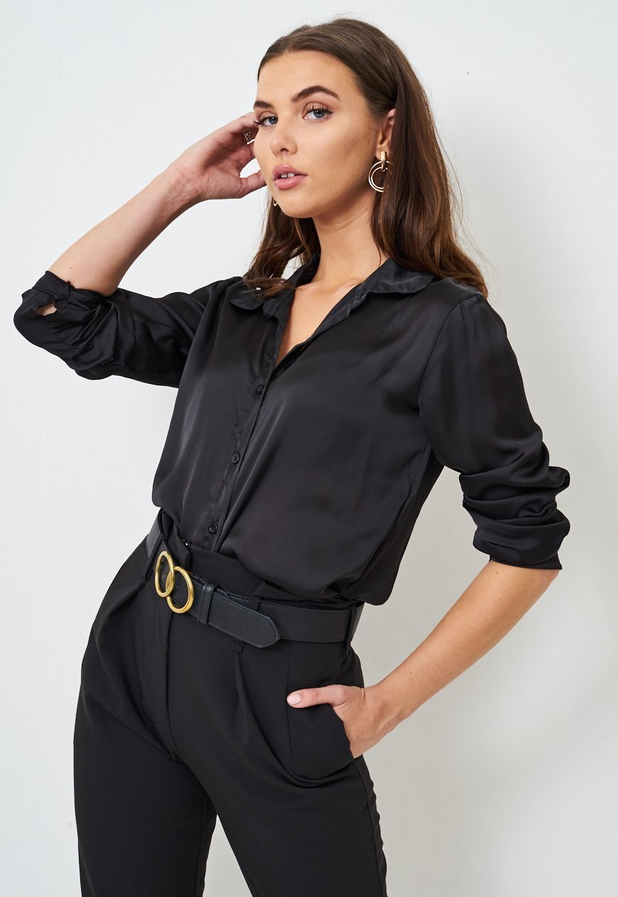 Frontrow Top Black Silk Satin Shirt