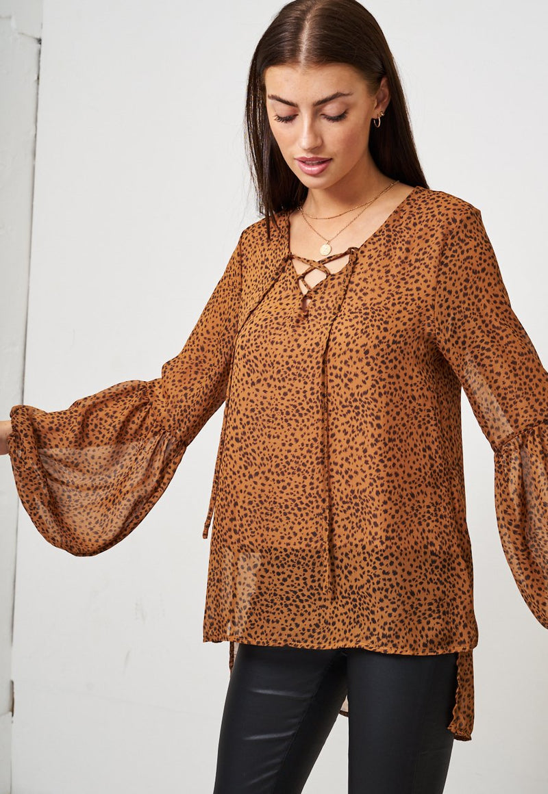 Brown Animal Print Blouse - love frontrow