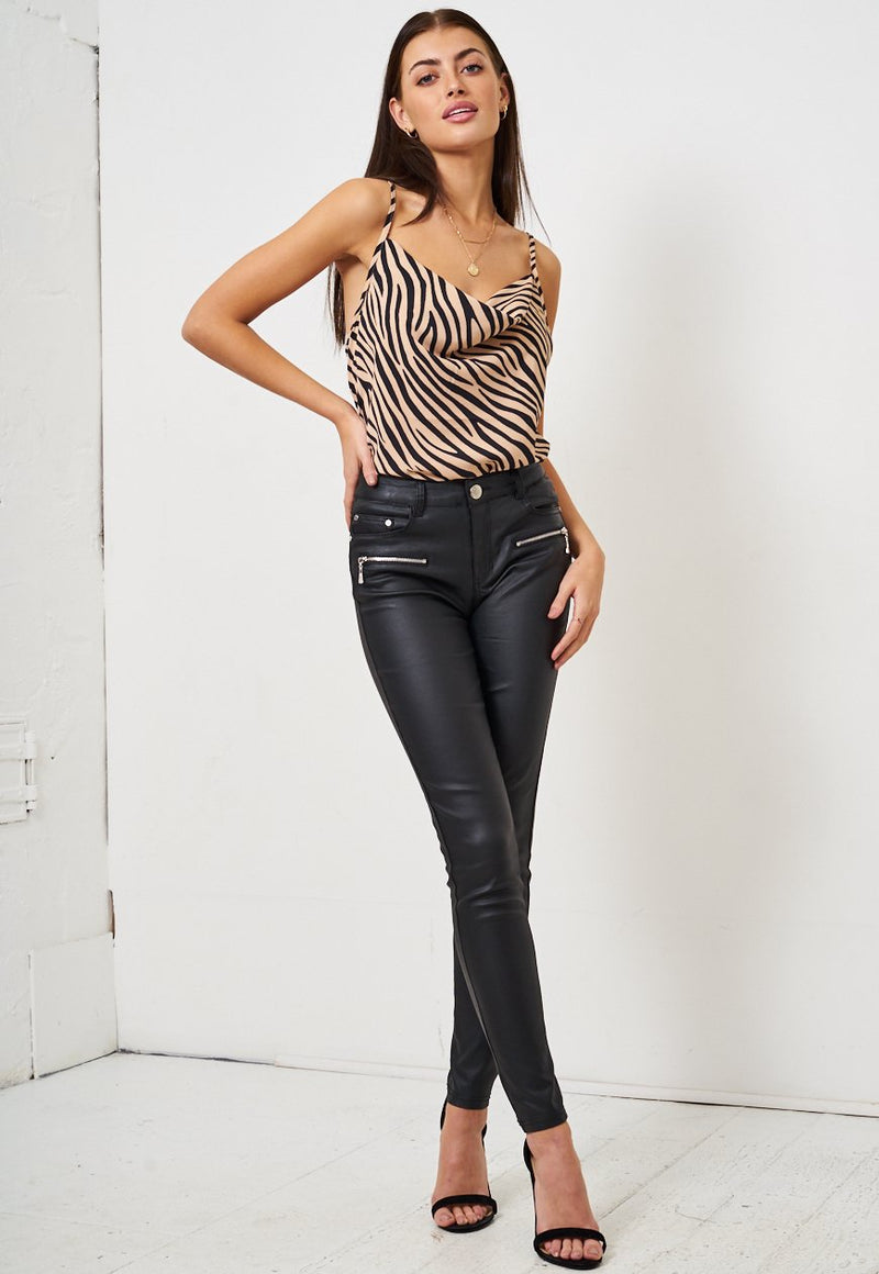 Brown Zebra Print Cowl Neck Cami Top - love frontrow