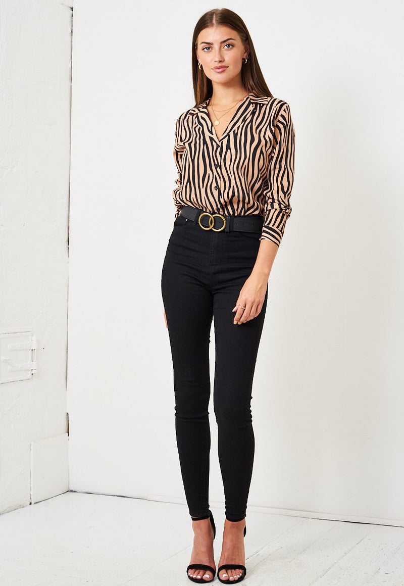 Brown Zebra Print Shirt - love frontrow