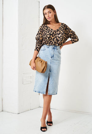 Brushed Knit Leopard Print Top - love frontrow