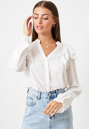 Chiffon Frill Blouse in White - love frontrow