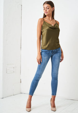 Satin Cowl Neck Cami Top in Khaki Green - love frontrow