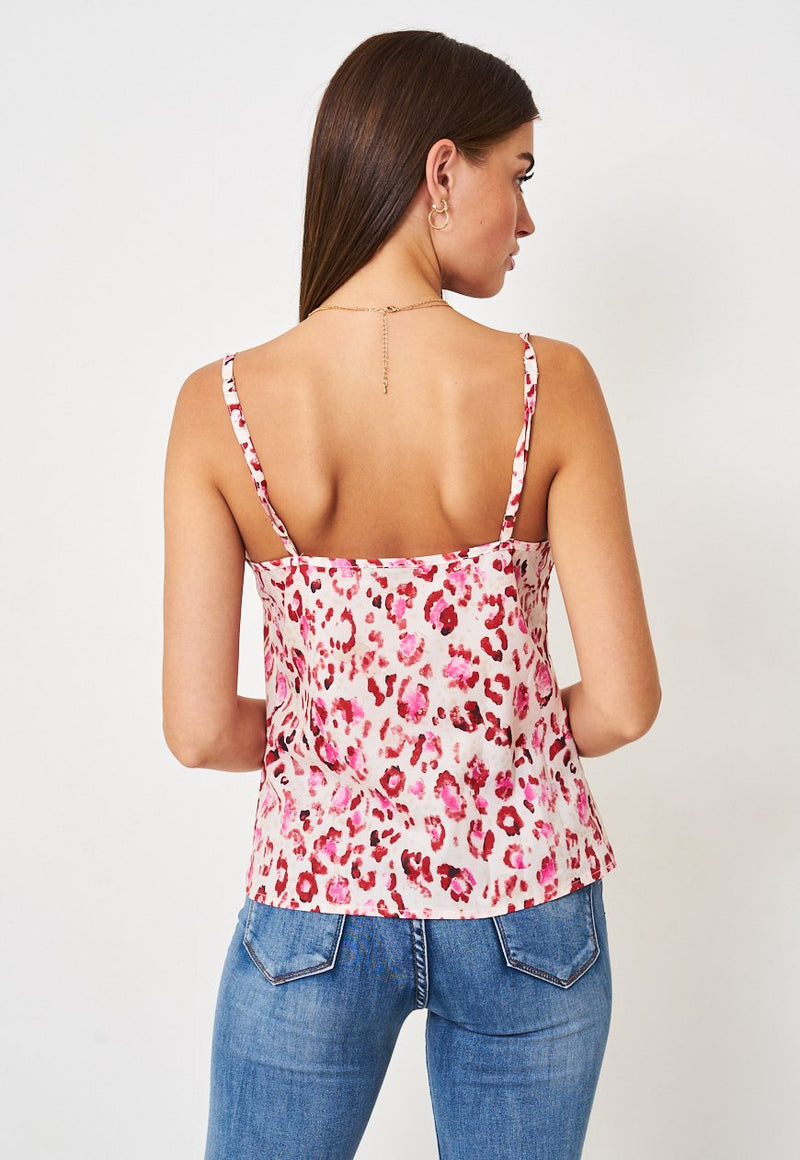 Cowl Neck Satin Cami Top | Pink Leopard - love frontrow