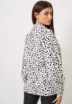 Cream Leopard Print Shirred Cuff Shirt - love frontrow