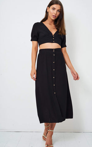 Eden Black Linen Cropped Top - love frontrow