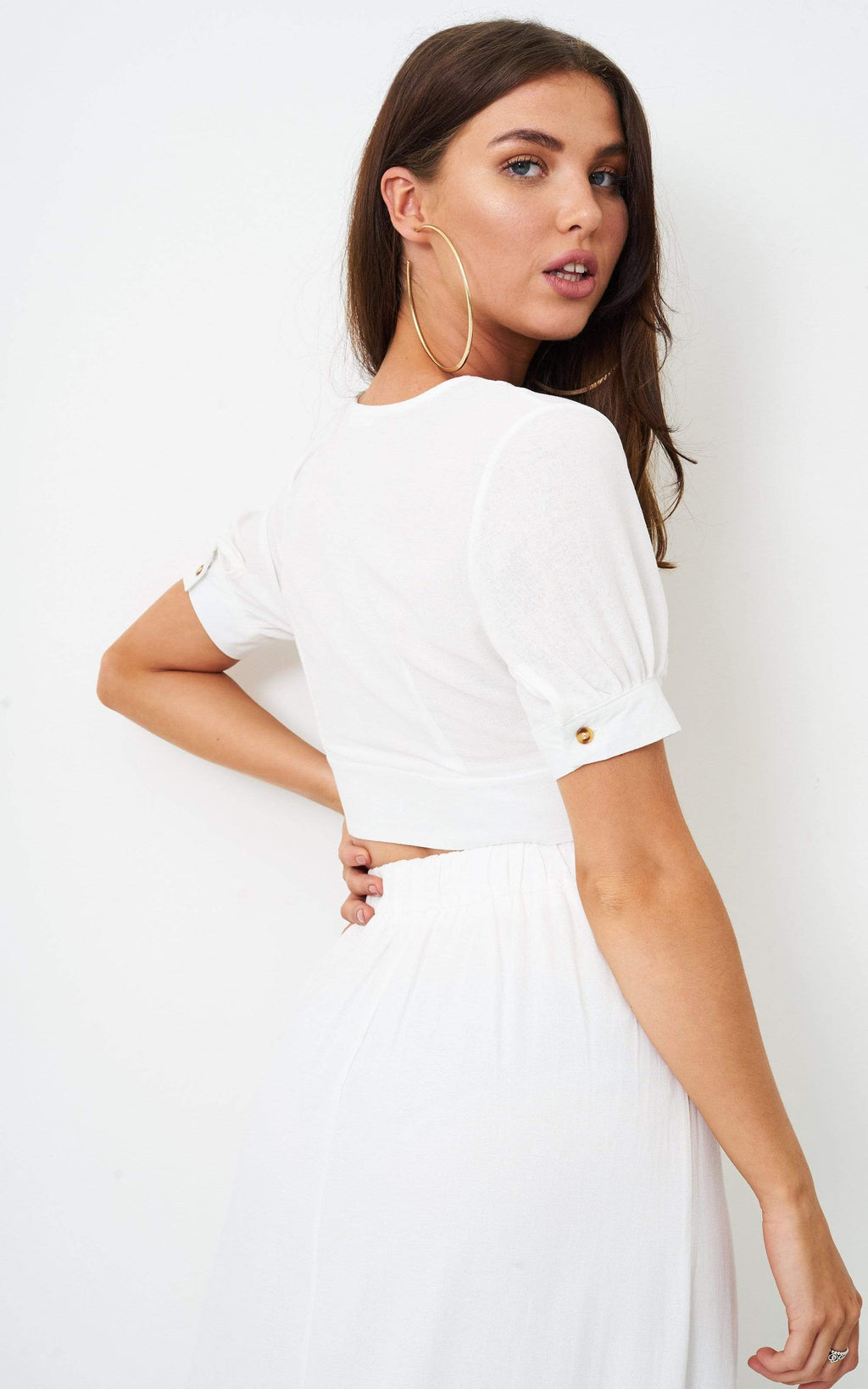 Eden White Linen Cropped Top - love frontrow
