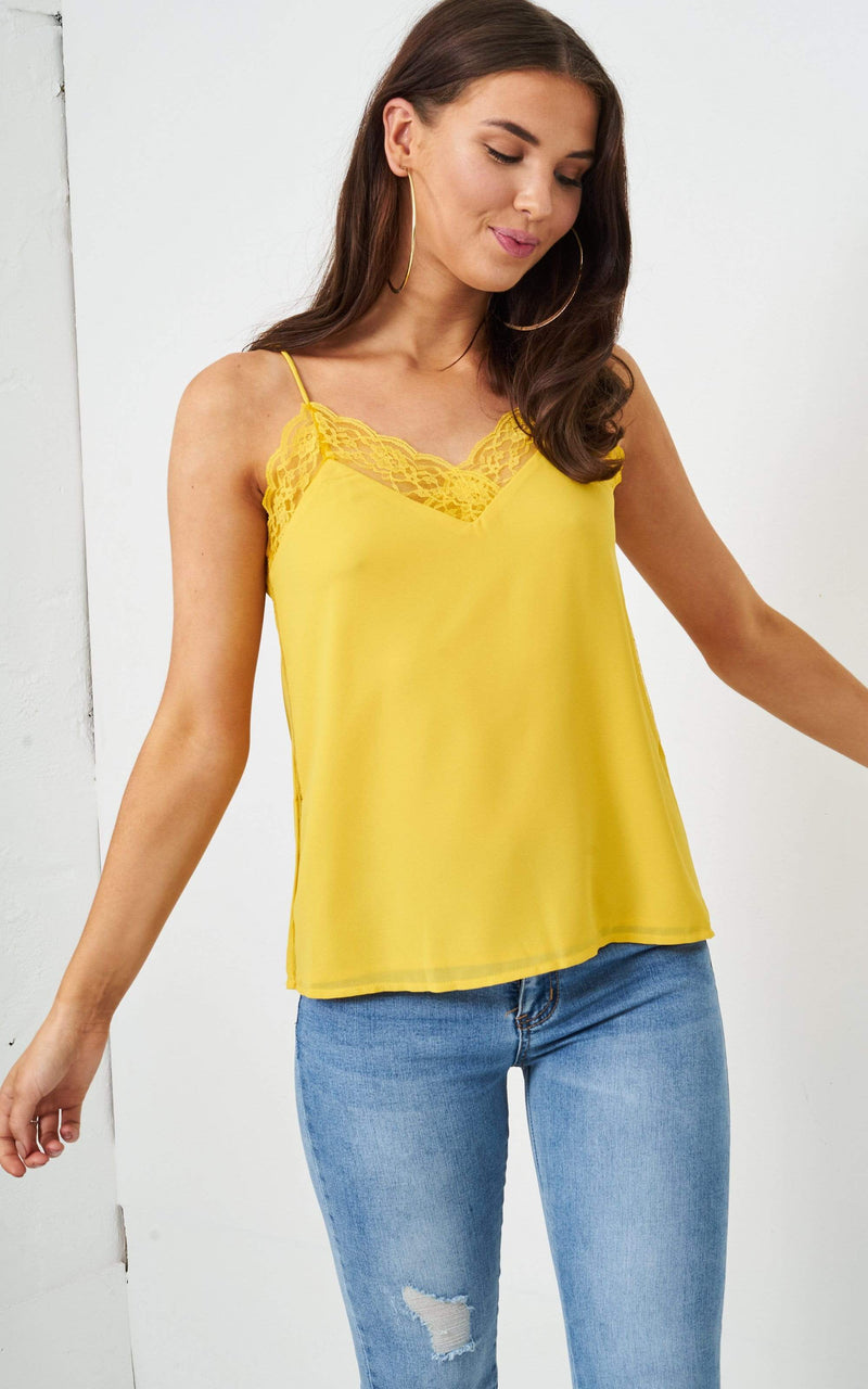 Evelyn Yellow Lace Trim Cami Top - love frontrow