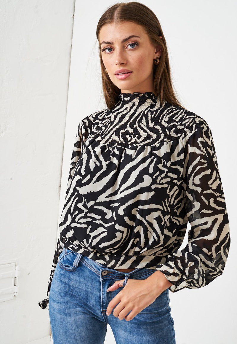 High Neck Shirred Blouse in Black Animal Print - love frontrow