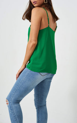 Jayda Green Knot Detail Cami Top - love frontrow