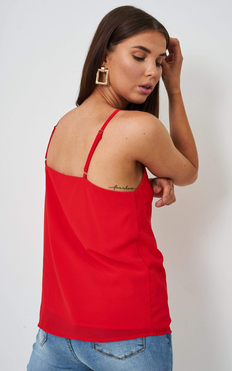 Jayda Red Knot Detail Cami Top - love frontrow