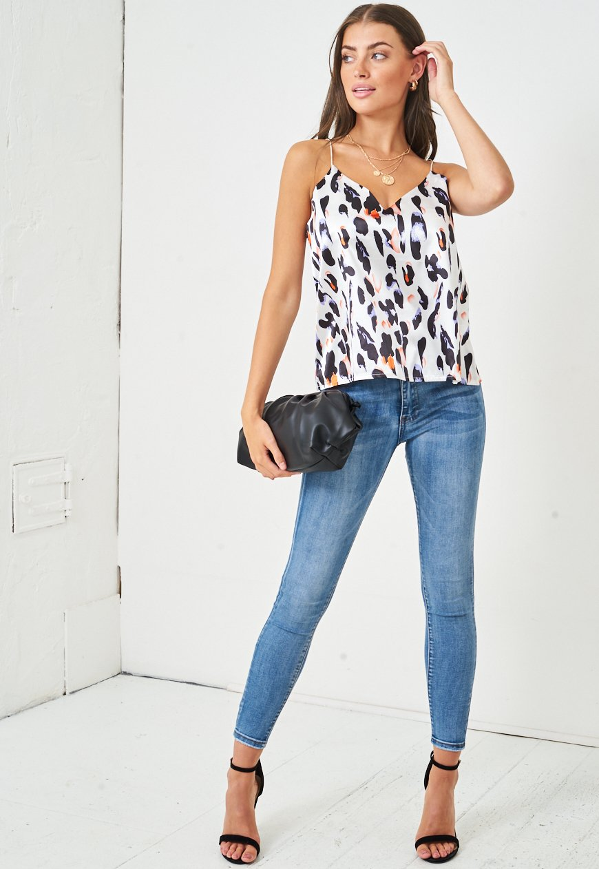 White Leopard Print Cami Top - love frontrow