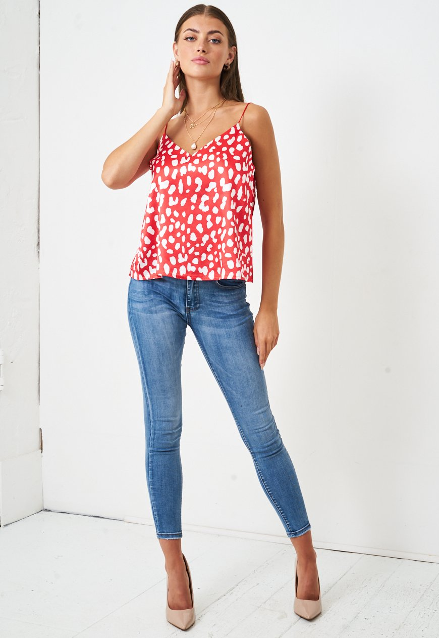Leopard Print Satin Cami Top in Red - love frontrow
