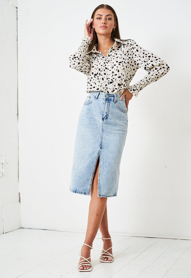 Leopard Print Shirred Sleeve Shirt in Cream - love frontrow