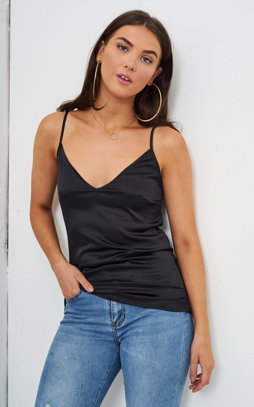 Lucie Black Satin Cami Top - love frontrow