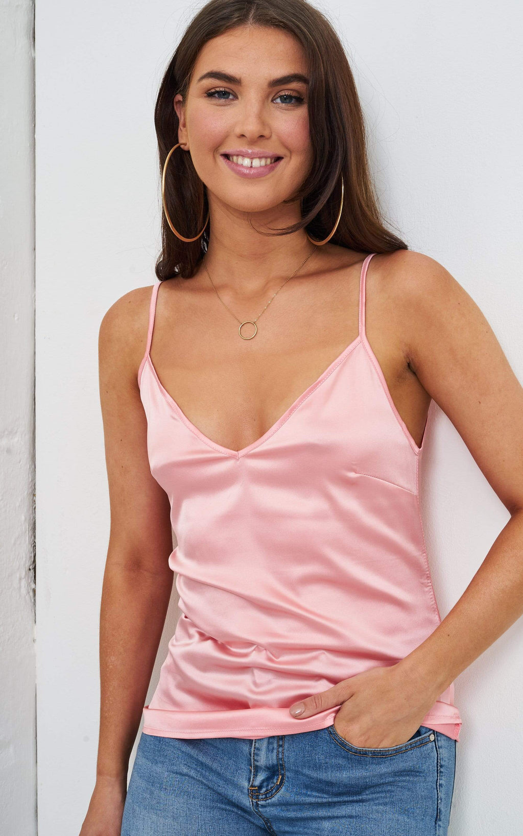 Lucie Pale Pink Satin Cami Top - love frontrow