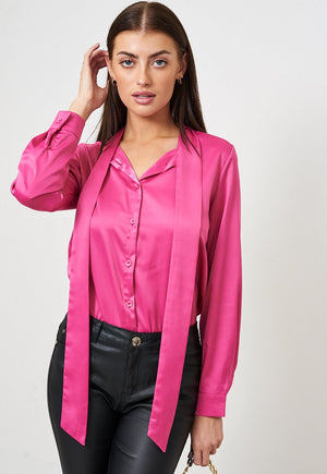 Magenta Pink Pussy Bow Satin Shirt - love frontrow