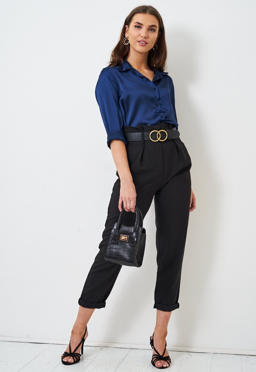 Frontrow Top Navy Silk Satin Shirt