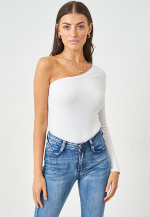 One Shoulder Sleeve Bodysuit in White - love frontrow