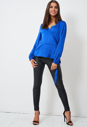 Royal Blue Long Sleeve Wrap Top - love frontrow