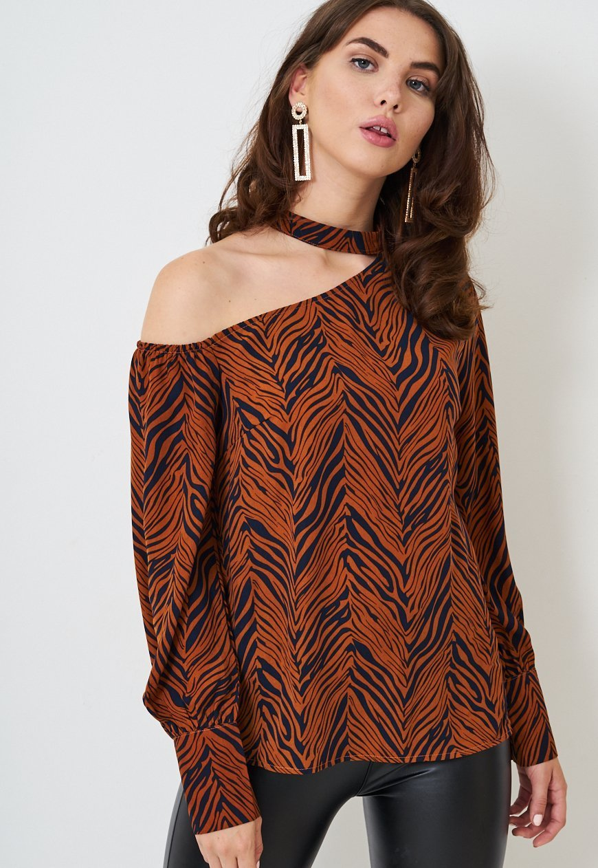 Rust Zebra Print One Shoulder Top - love frontrow