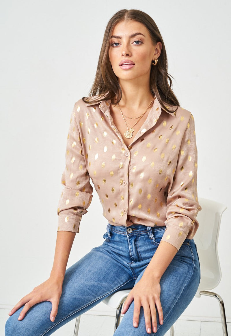 Gold Brush Spot Print Shirt in Beige - love frontrow